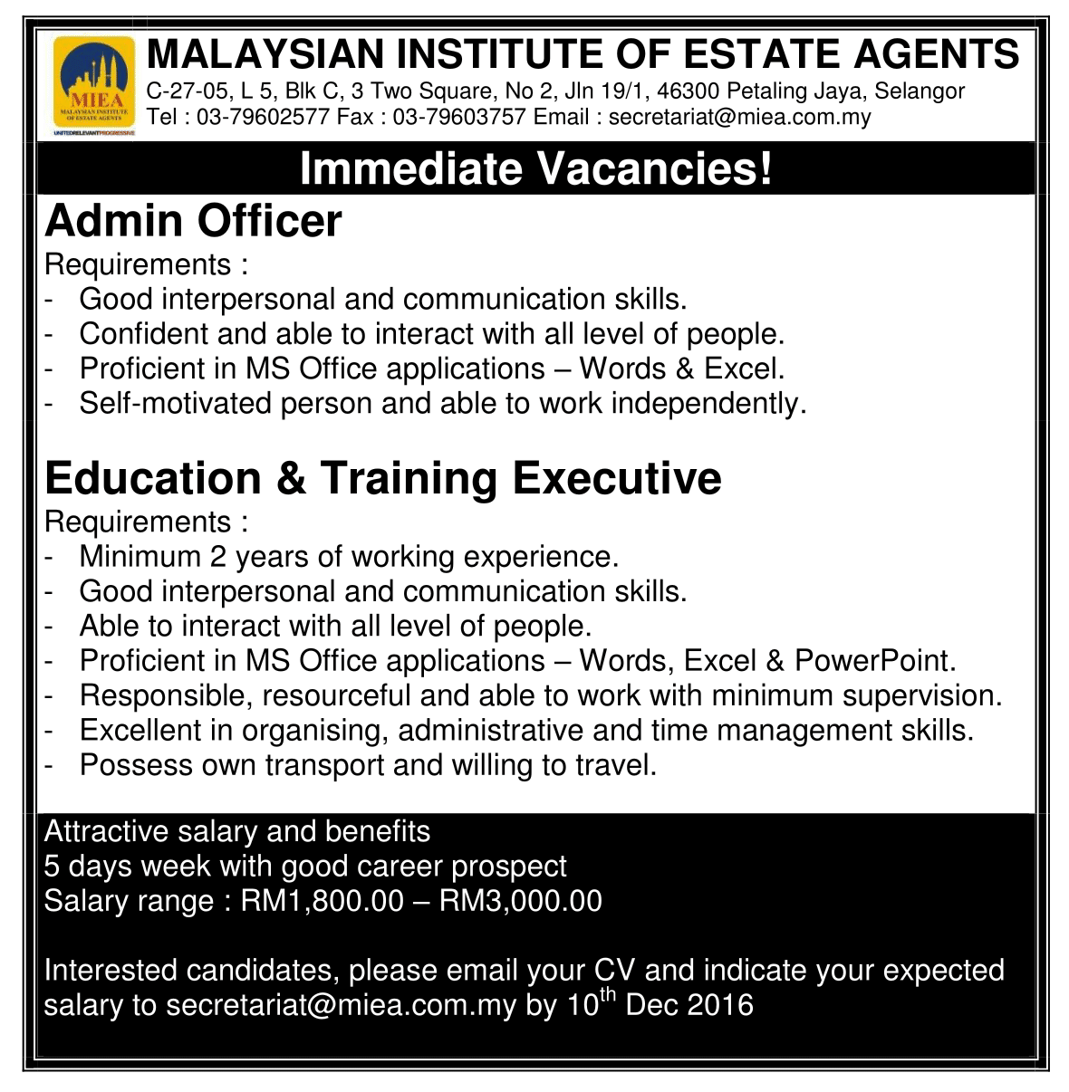 Miea Job Vacancy Malaysian Institute Of Estate Agents